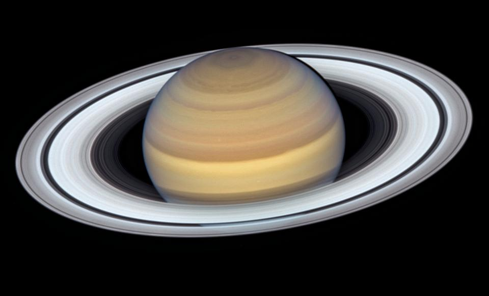 Saturn, as imaged by Hubble at opposition in 2019, showcasing rings and the north pole.