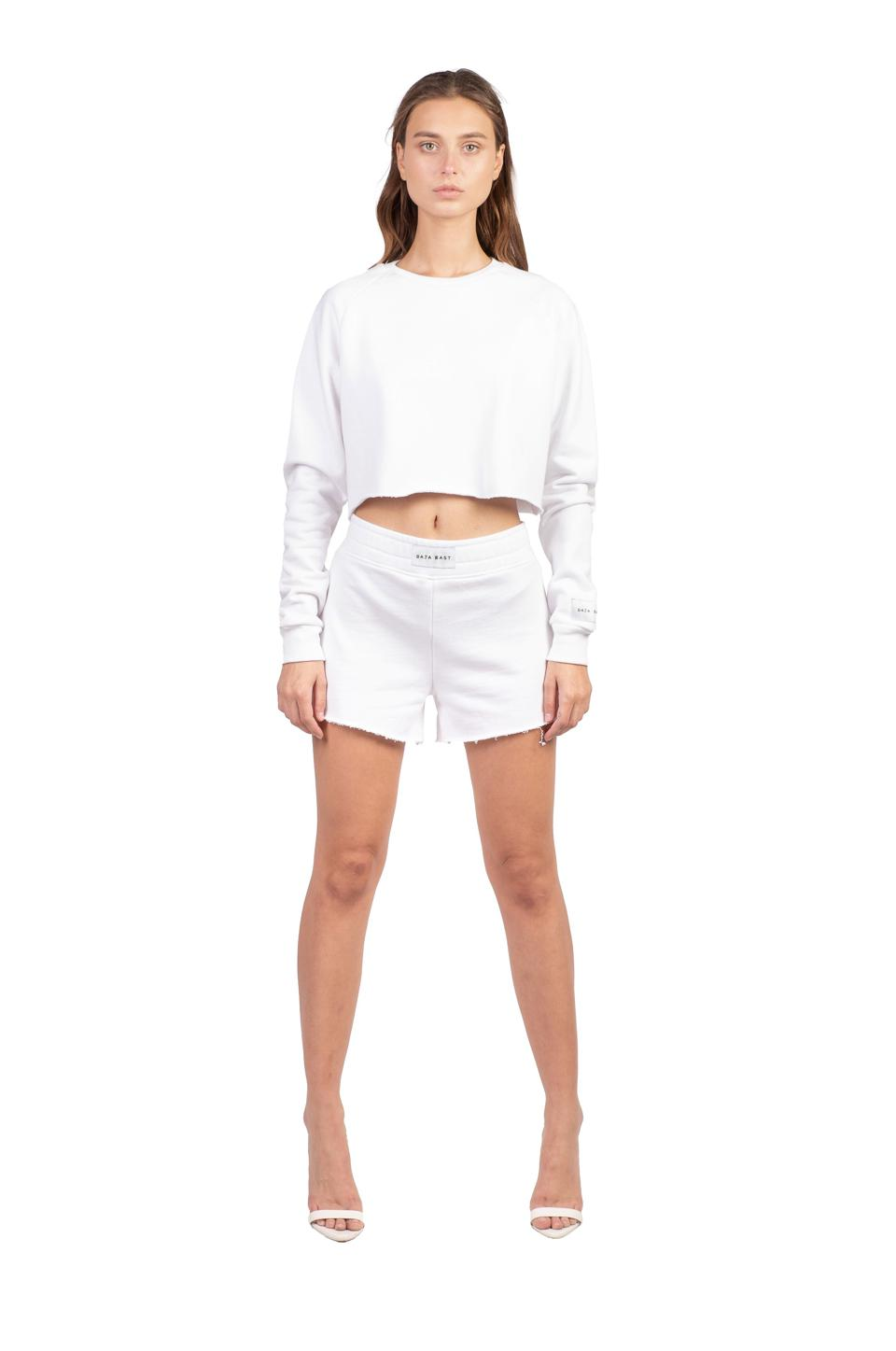 "Baja East ""Labeled"" Cropped Crew in White"