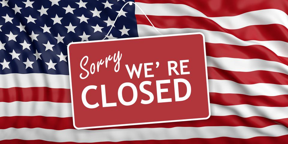 Government shutdown. Sorry we're closed on US flag background. 3d illustration