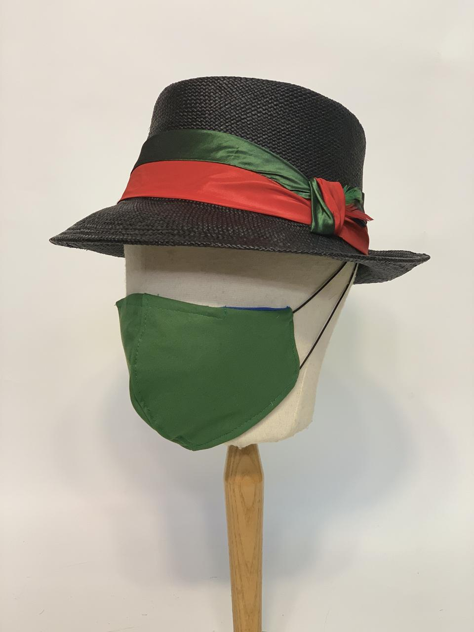 Hand blocked panama fedora trimmed with silk taffeta band and knot, paired with a cotton blend, forest green face mask
