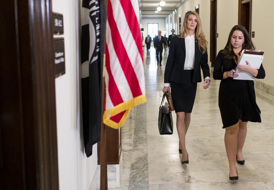 UNITED STATES - JANUARY 29: Sen. Kelly Loeffler, R-Ga., arrives for the Senate Veterans' Affairs Committee mark up hearing in the Russell Senate Office Building on Wednesday, Jan. 29, 2020. (Photo By Bill Clark/CQ-Roll Call, Inc via Getty Images)