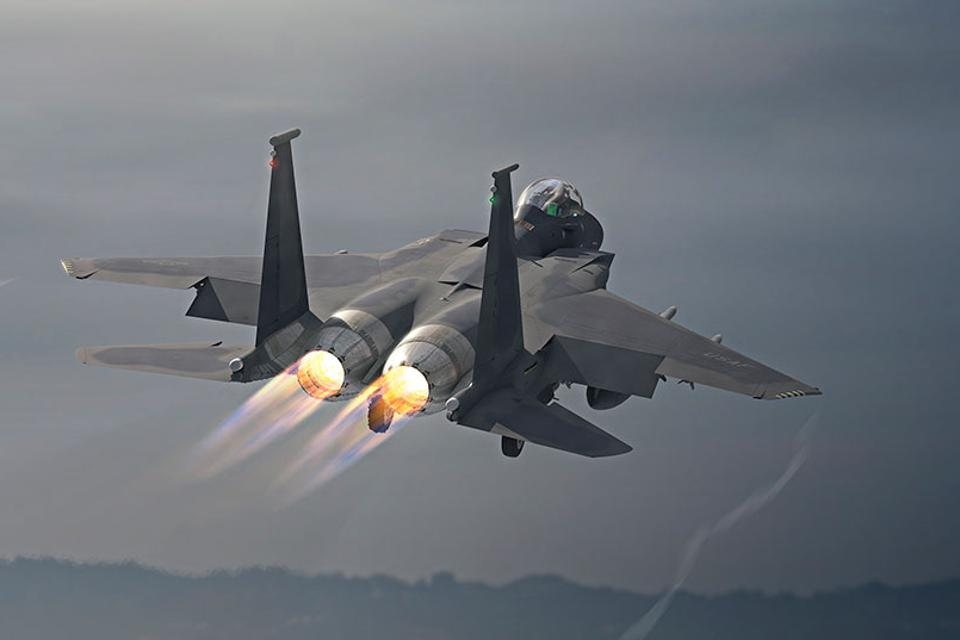 F-15EX departs after takeoff.