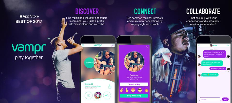 Vampr is an app that aids in music discovery, connection and collaboration.