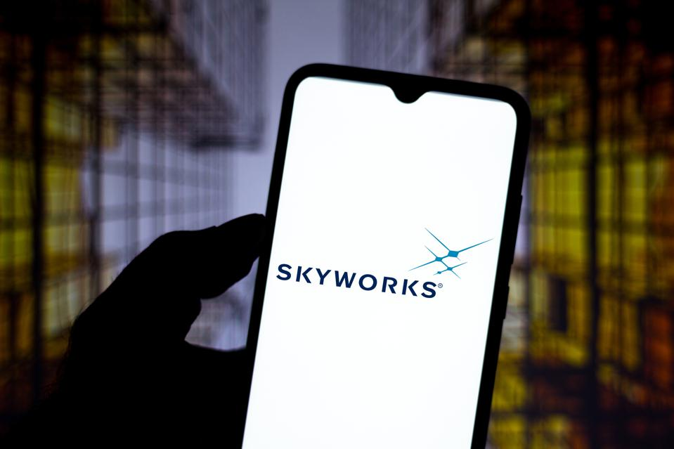 In this photo illustration the Skyworks Solutions logo seen...