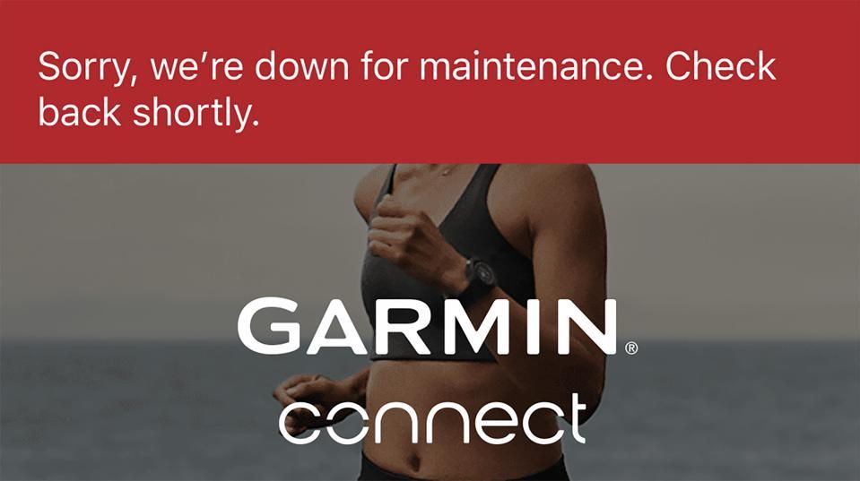 Uno screengrab dell'app Garmin Connect, che mostra la dichiarazione di non responsabilità ″ down for maintenance ″.