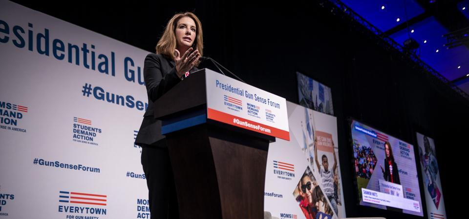 Shannon Watts, mom and activist, speaks at a Gun Sense Forum in 2019