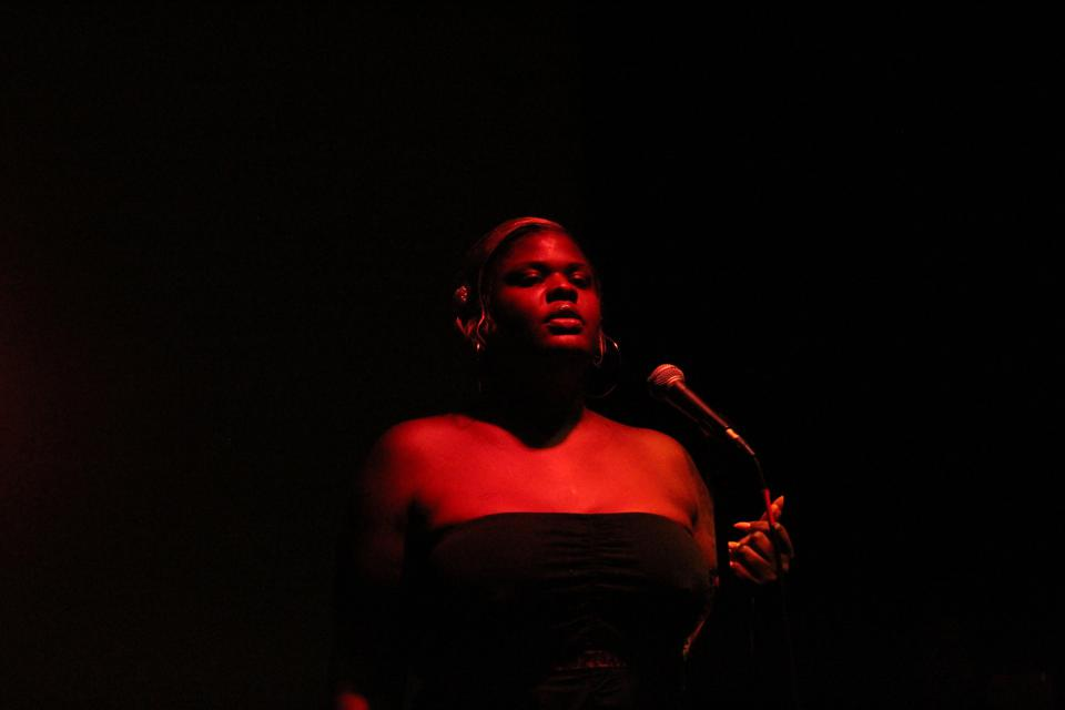 Gia Love performing at BTFA's first open mic night