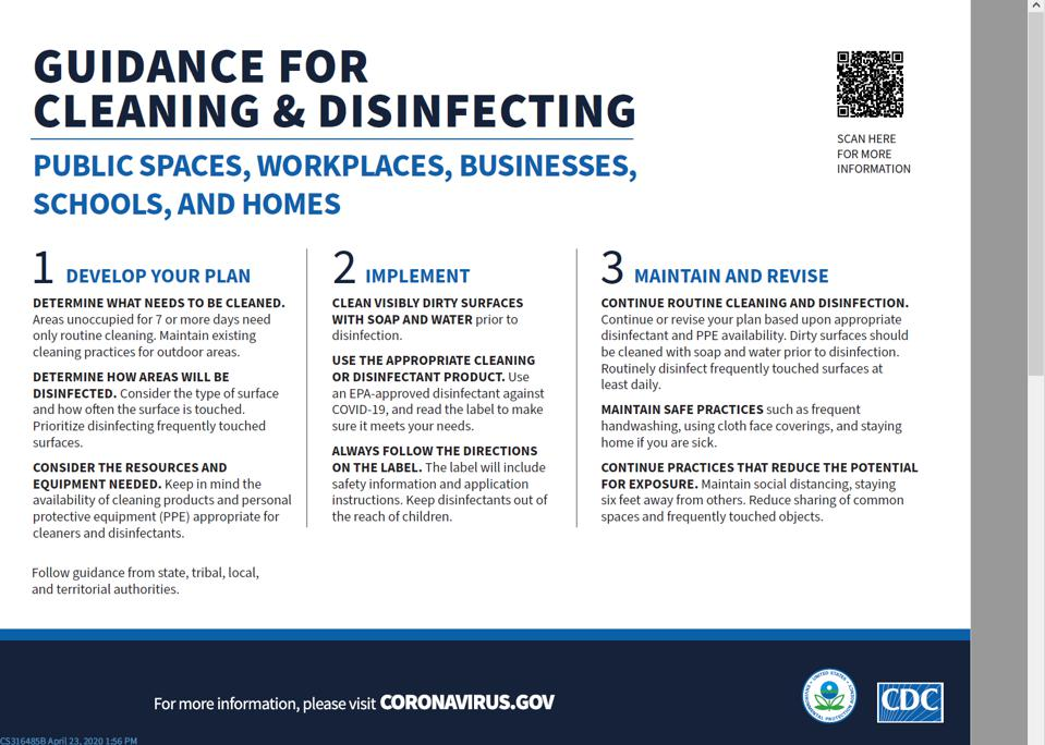 Centers for Disease Control cleaning and disinfecting guidelines
