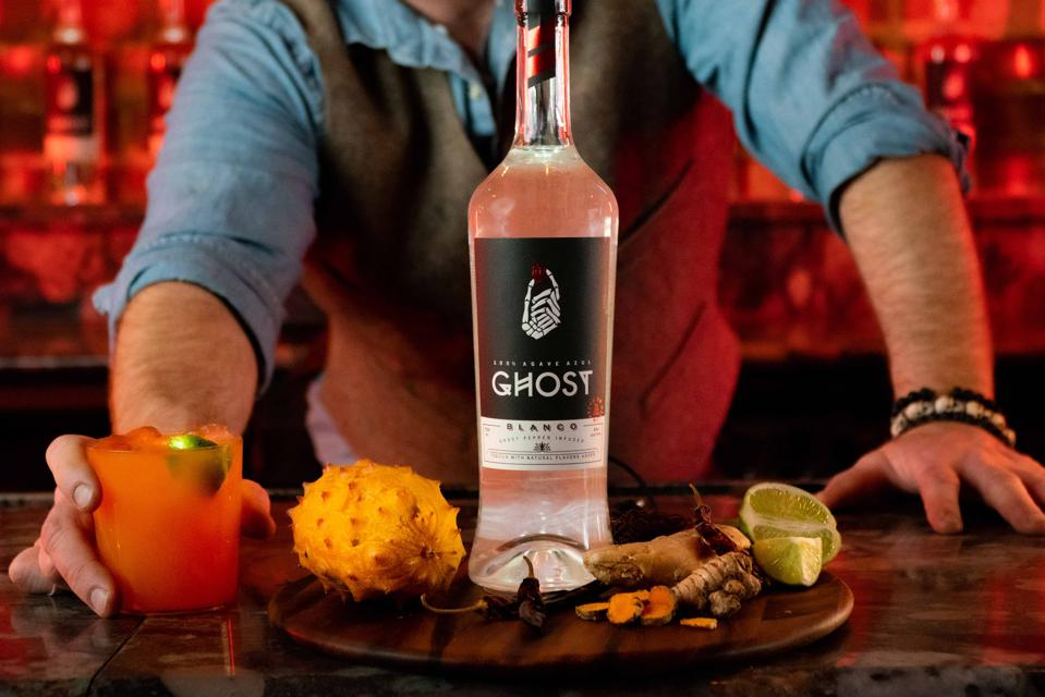 Ghost tequila bottle and cocktail