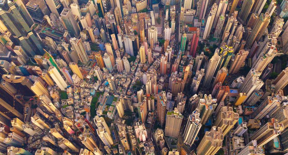 Downtown Hong Kong perfectly illustrates how much concrete is used worldwide