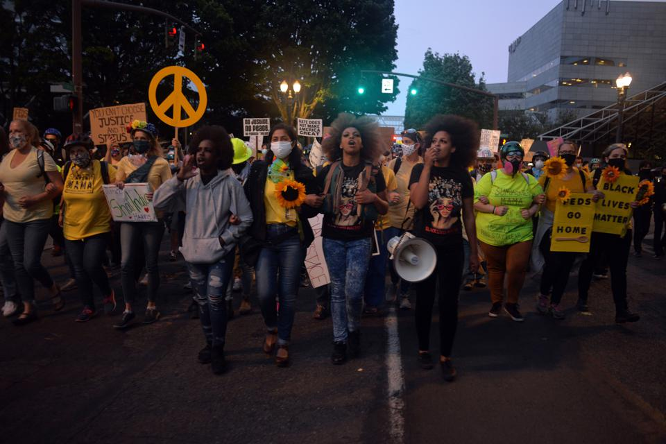 Protesters against police brutality in Portland, OR on July 23, 2020.