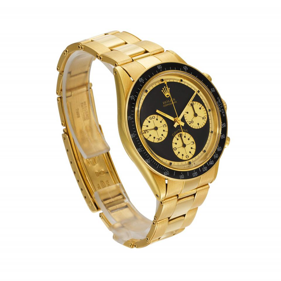 The high bid so far is $600,000 for the Rolex Daytona JPS reference 6264 in 18k gold