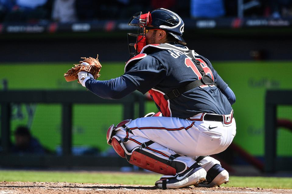 Travis d'Arnaud catches for Braves