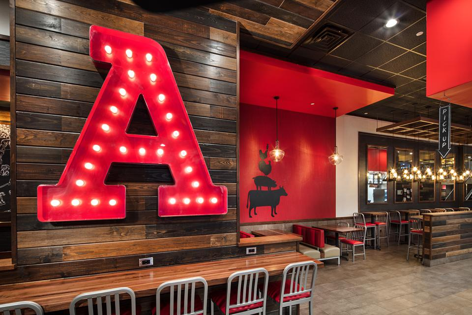 A modernized Arby's location in New York. The chain quickly moved to drive-thru only in the spring, which has helped keep sales flat in 2020. Some of its dining rooms reopened recently.