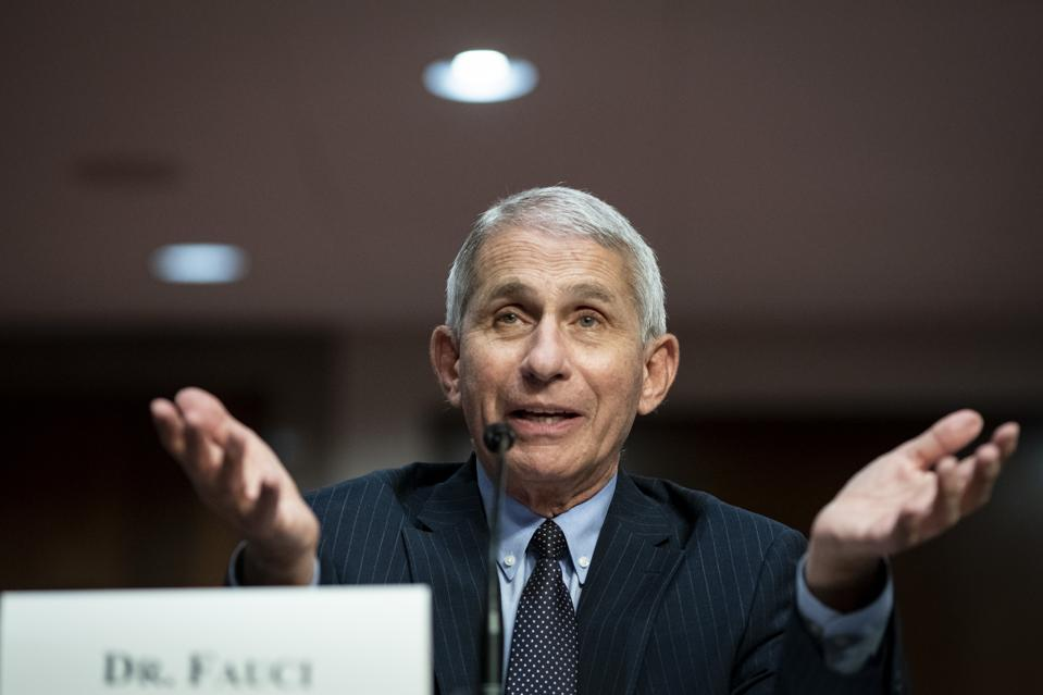 Dr. Anthony Fauci, director of the National Institute of Allergy and Infectious Diseases, gestures as he speaks during a Senate Health, Education, Labor, and Pensions Committee hearing.