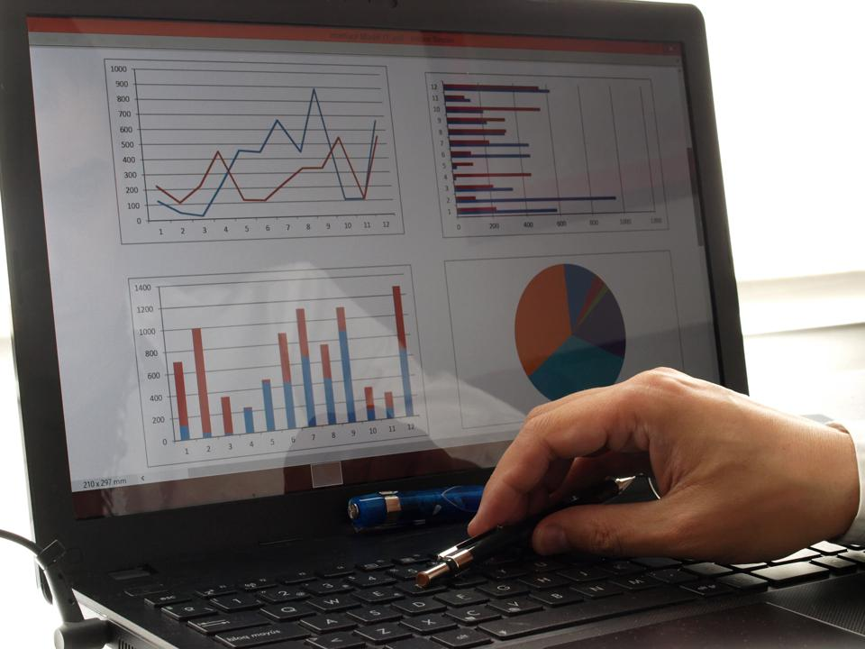 financial charts on laptop