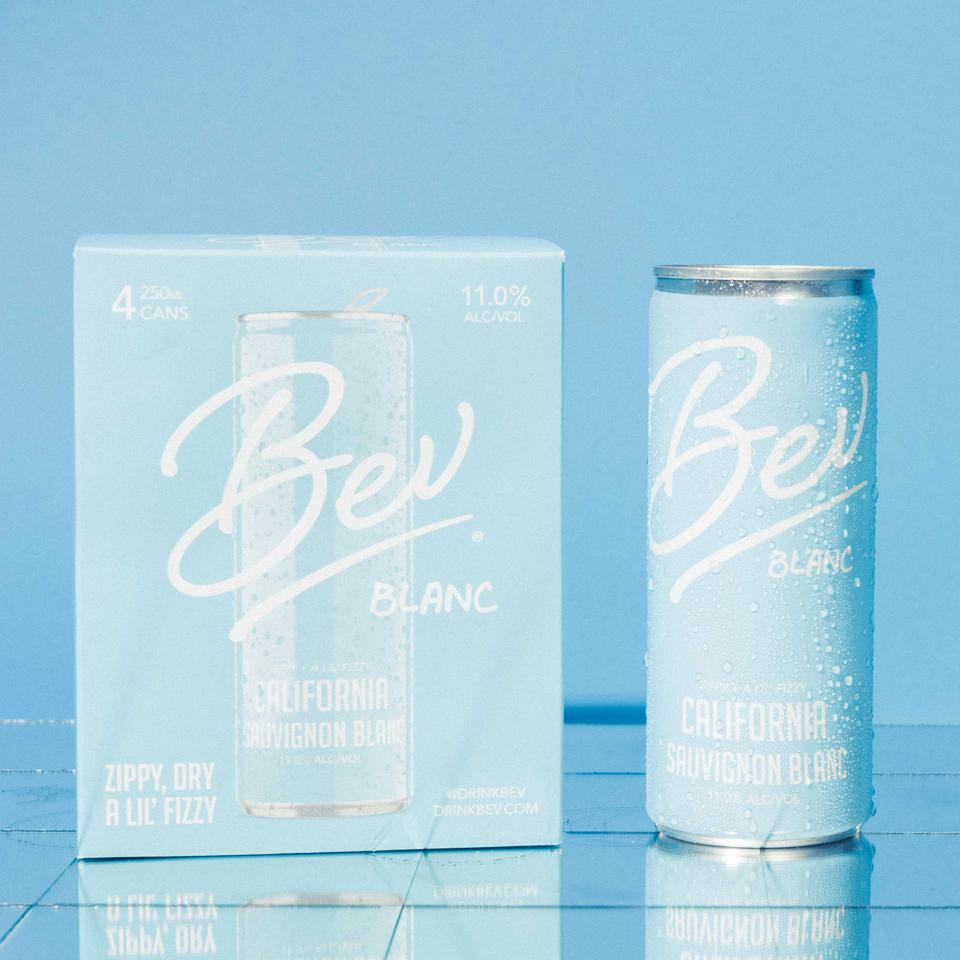 A can of Bev Blanc