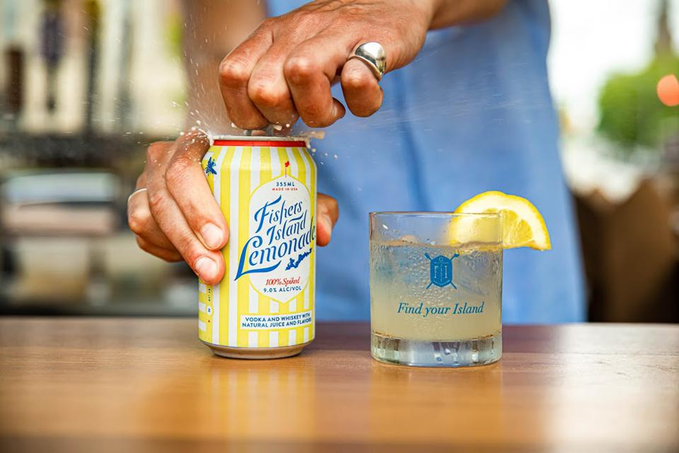 A can of Fishers Island Lemonade being opened