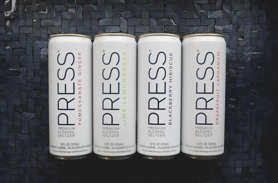 Cans of PRESS hard seltzter