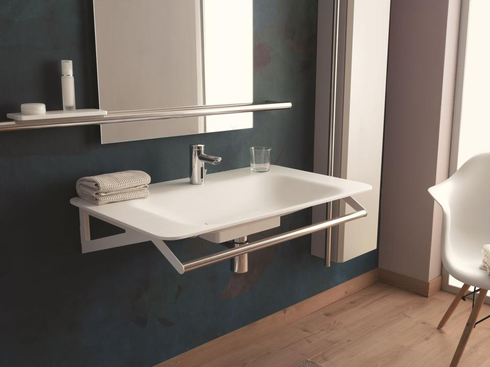 Sink with built-in grab bar.