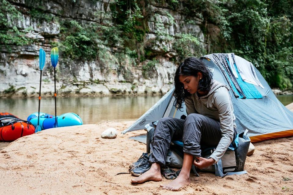 Woman hiker camping