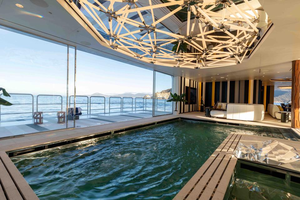 A high-tech swimming pool on the Luminosity superyacht, designed by Zaniz