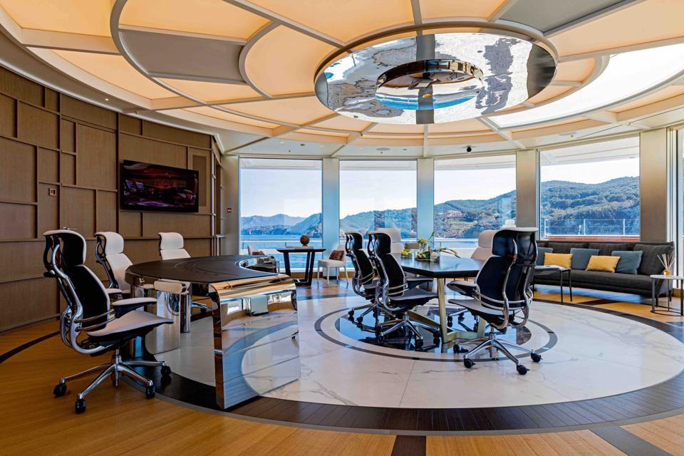 The office onboard the Luminosity superyacht, designed by Zaniz