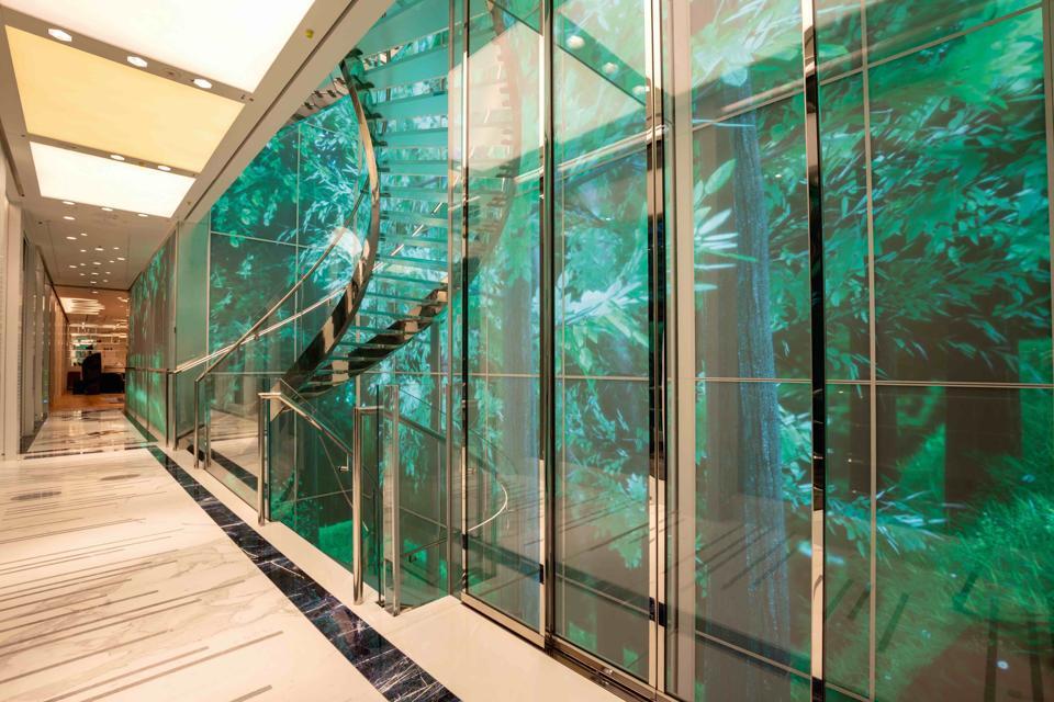 An interactive high-tech forest onboard the Luminosity superyacht, designed by Zaniz