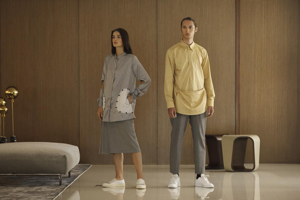 Ivaraseron proposes genderless dressing via ultra structured tops for both men and women.
