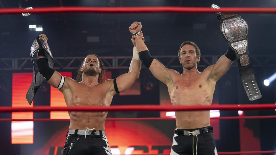 The Motor City Machine Guns stand tall as new Impact Wrestling Tag Team Champions.