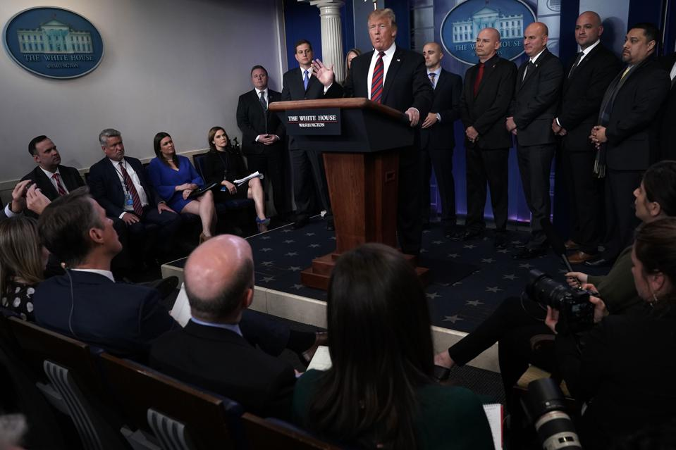 President Trump Holds Press Briefing With Border Patrol And ICE Agents