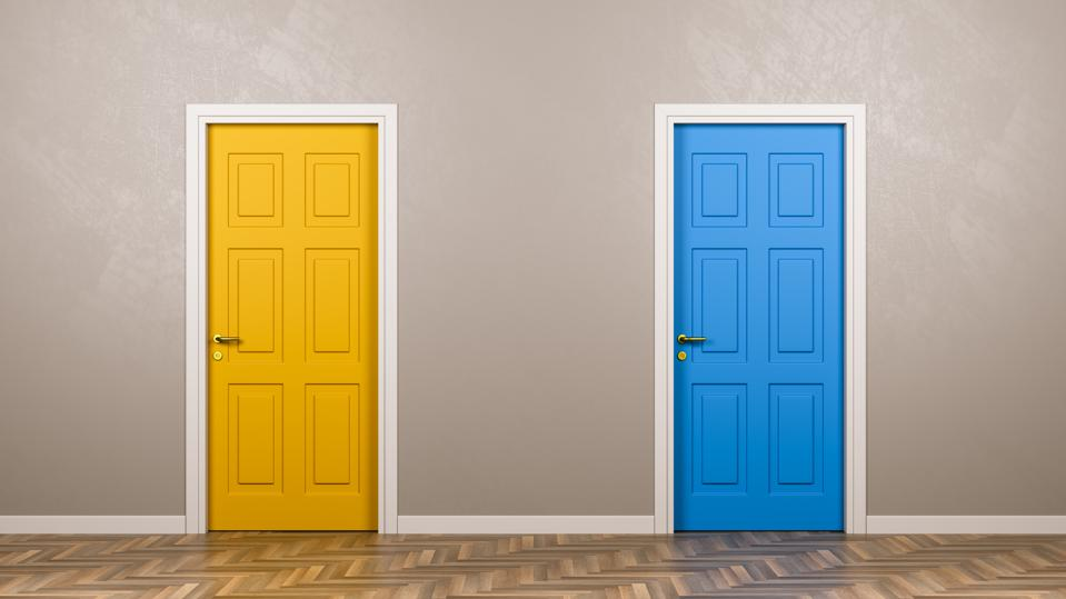 Two Closed Doors in Front in the Room