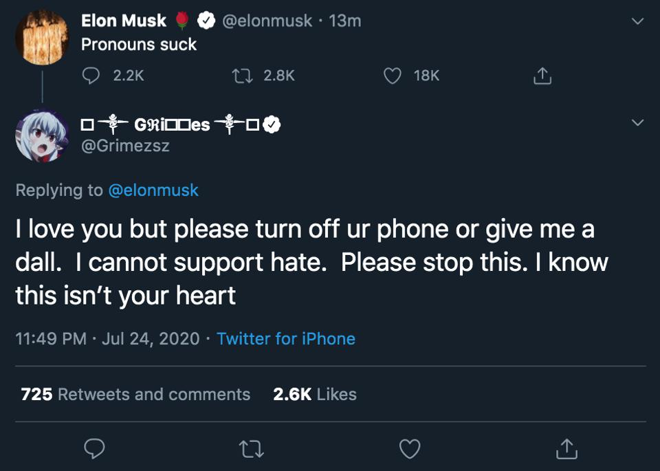 Musician Grimes rebuked billionaire Elon Musk following his tweet which some saw as transphobic.