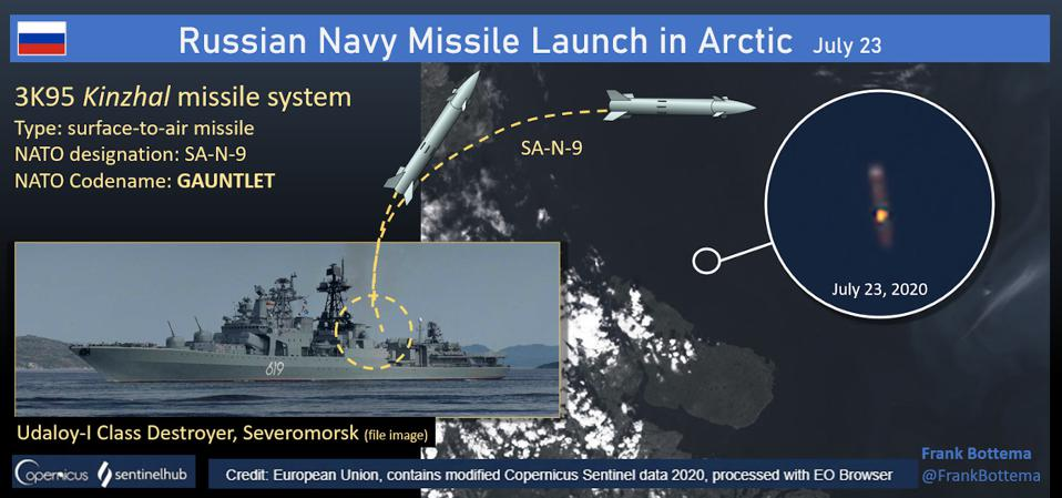 Satellite image of Russian Navy Udaloy Class destroyer firing an SA-N-9 missile