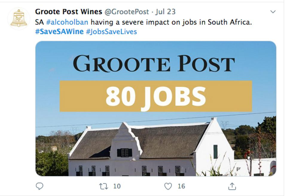 Twitter screen grab by Groote Post Wines in support of #SaveSAWine campaign.