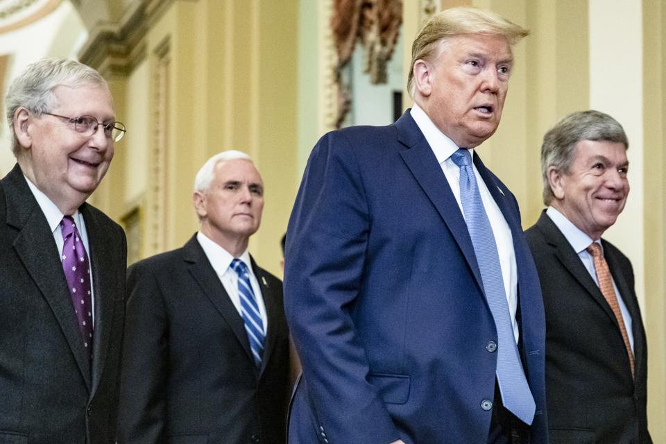 President Trump Meets With GOP Lawmakers On Capitol Hill On Coronavirus Plan