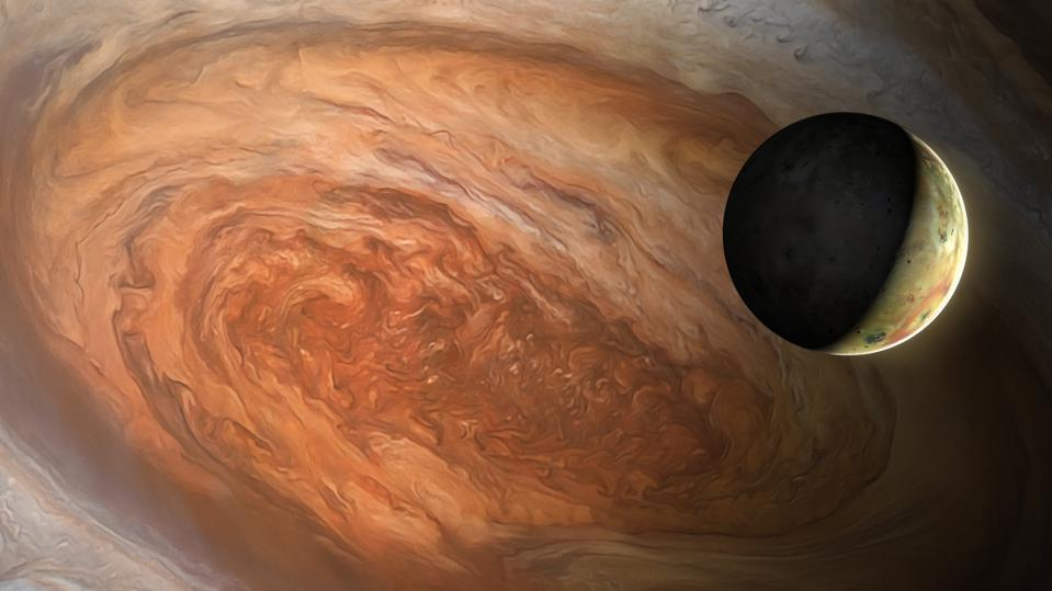 Jupiter's Great Red Spot and Io, illustration