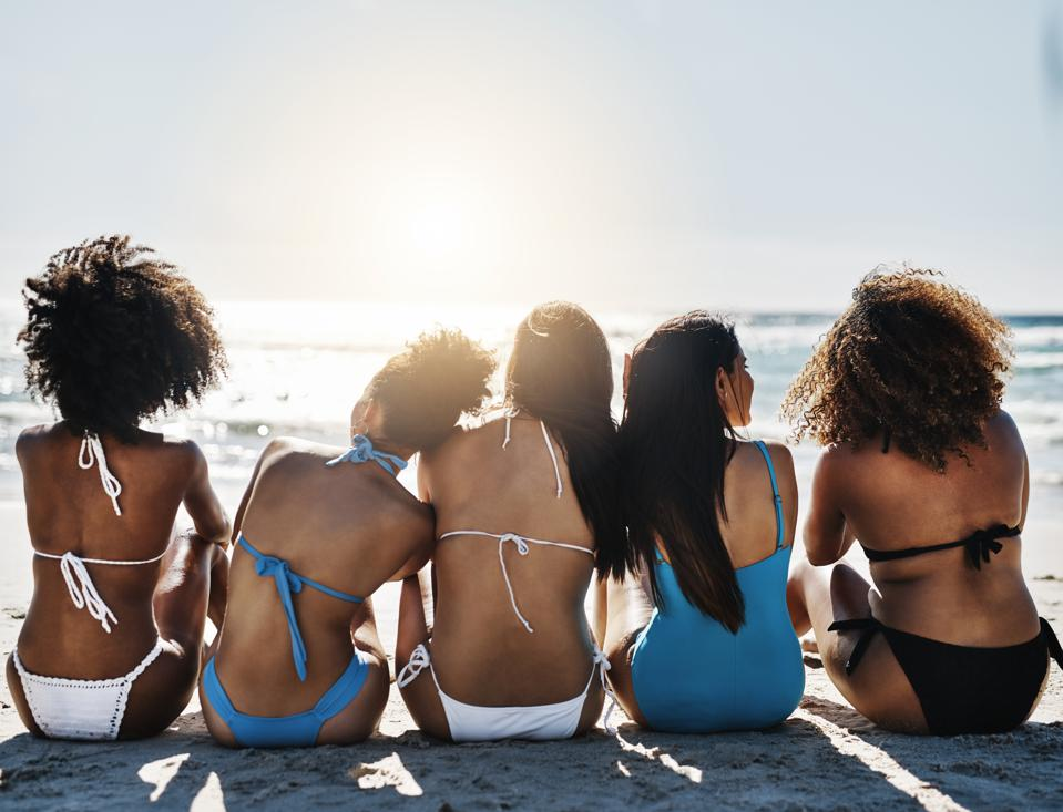 Young women relaxing at the beach
