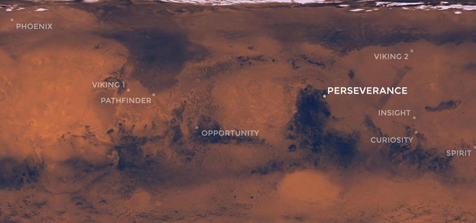 ​This map of the Red Planet shows Jezero Crater, where NASA's Mars 2020 rover is scheduled to land in February 2021. Also included are the locations where all of NASA's other successful Mars missions touched down.