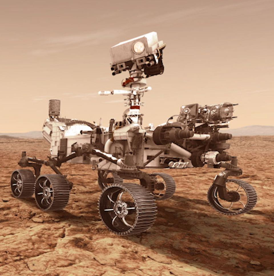 NASA's Mars 2020 rover will store rock and soil samples in sealed tubes on the planet's surface for future missions to retrieve, as seen in this illustration.