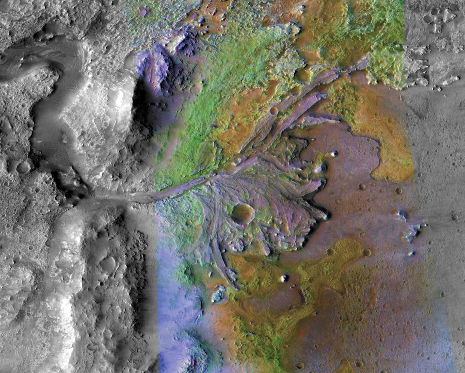 Jezero Crater on Mars, the landing site for NASA's Mars 2020 mission. It was taken by instruments on NASA's Mars Reconnaissance Orbiter (MRO).