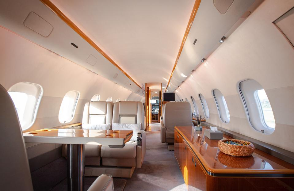Interior of a Global 5000 private jet