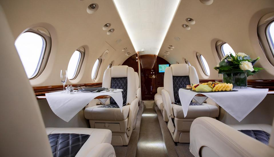 Interior of Hawker jet set for dinner