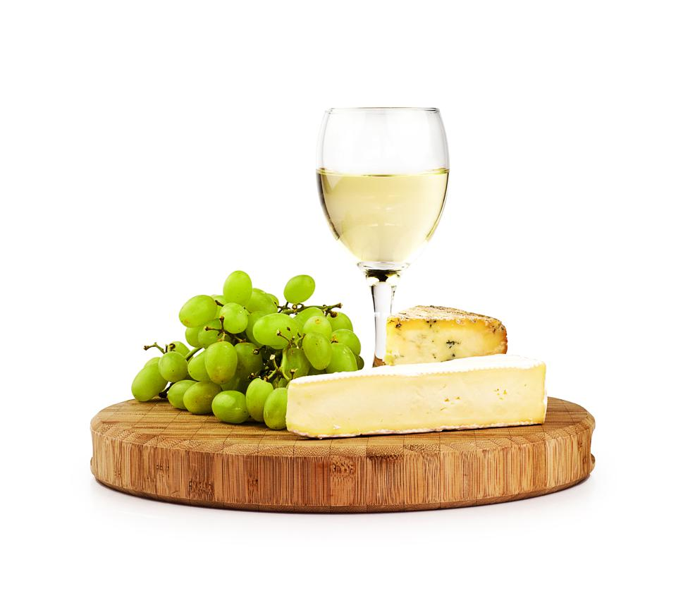 White wine and cheese board