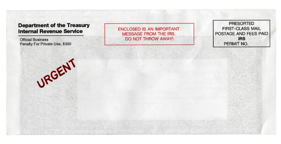Urgent IRS Notice Envelope