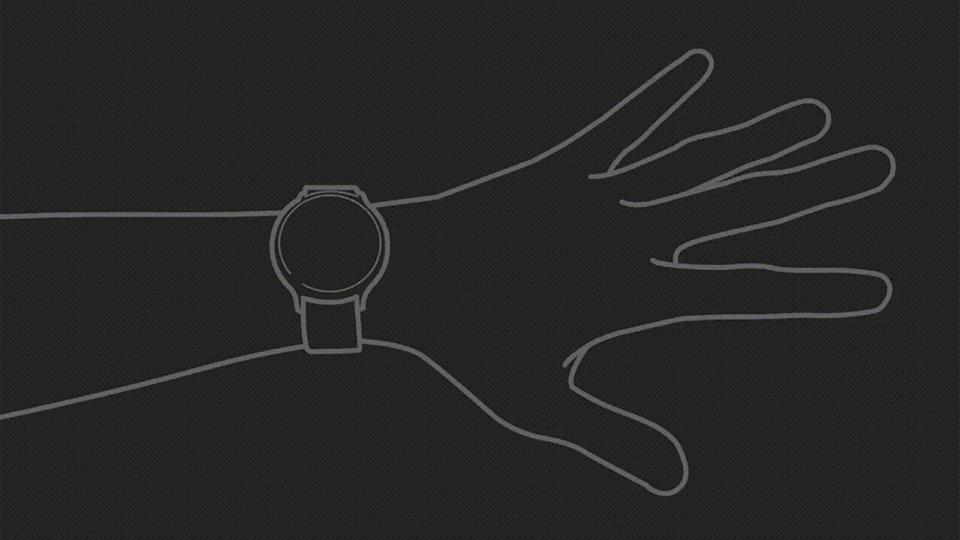 Un diagramma che mostra la funzione dei gesti delle mani del Galaxy Watch 3.