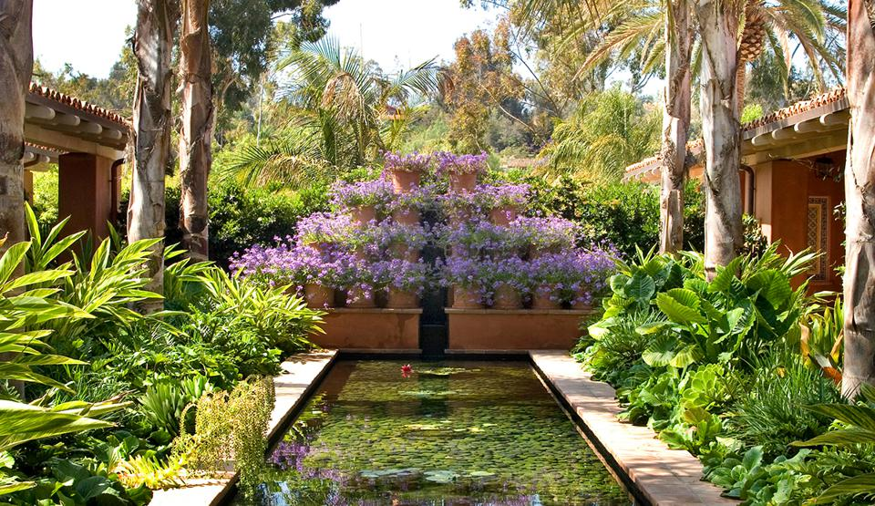 A colorful garden at Rancho Valencia Hotel.