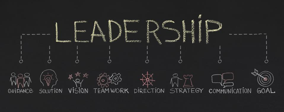 Leadership with inportant components on chalkboard