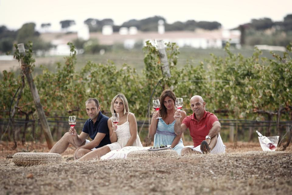 The owners of Herdade da Malhadinha Nova drink wine among their vineyards in Portugal