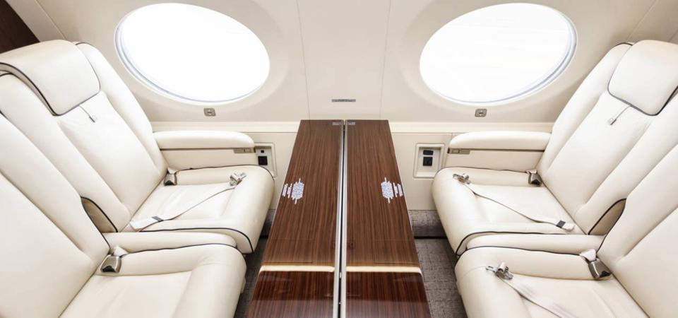 Interior of a private jet